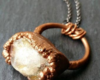 Raw Rough Copper Electroformed Natural Golden Yellow Brown Citrine Crystal Point Rugged Nugget Stone Suspended on Pendant Chain Necklace