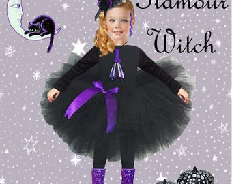 Toddler Witch Costume, Witch Costume, Pretty Witch Costume, Child's Witch Costume, Witch Tutu Costume, Baby Witch Costume, Witch Hat, Witch