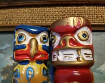 Vintage Totem Ceramic Salt & Pepper Shakers