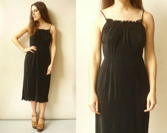 Vintage 1980's Black Pleated Midi Tea Dress Size Small