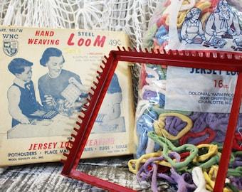 Vintage Red Steel Hand Weaving Loom using Loops, Potholder making toy, 1960s, 1950s includes 2 bags of loops