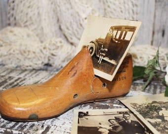 Vintage Wood Child's Shoe Makers Form, Shoe Last, Photo Holder