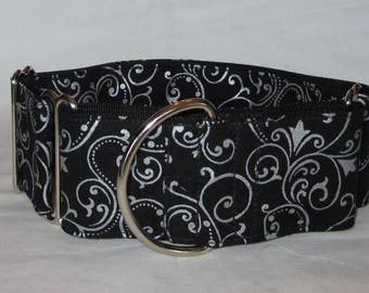 Silver Swirl Martingale Dog Collar - 1.5 or 2 Inch - black sliver sparkle shine vine