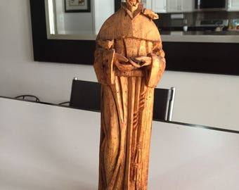 Saint Francis Patron of Animals Hand Carved Figurine/St. Francis Wooden Statue/St. Francis of Assisi Wooden Statue/By Gatormom13