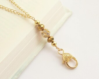 Lanyard Gold, Crystal Ball Gold Lanyard, Gold ID Badge Holder, Gold Swivel Clip Lanyard, Simple Lanyard Necklace Gold Chain for Women
