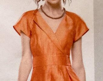 Flirty Dress Sewing Pattern Size 12 to 20 Cold Shoulder Sleeve Peplum Top Asymmetrical Hem Waistband Simplicity 1798 UNCUT
