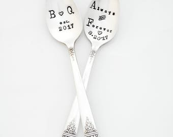 The Bridal Pair. Custom, Personalized Spoons with Initials. Original Design by Sycamore Hill. Always and Forever. His Hers, Coffee Lovers