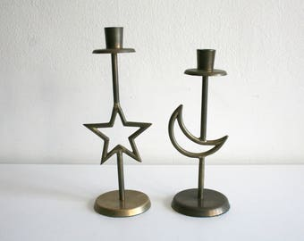 SALE Star and Moon Candlestick Holders