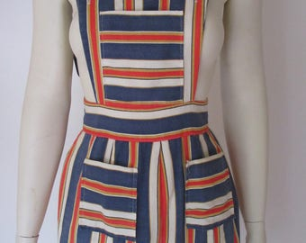 1960s Hot Pant Striped Overall Romper