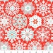 Christmas Fabric Benartex Nordic Holiday Geo Snowflake in Red Designer Quilting Cotton By the Half Yard