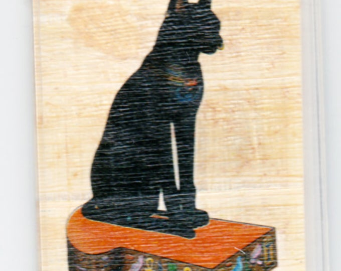New! Black Cat Egyptian Papyrus Magnet. Unique and useful! A different kind of  gift for cat lovers! Perfect stocking stuffer.