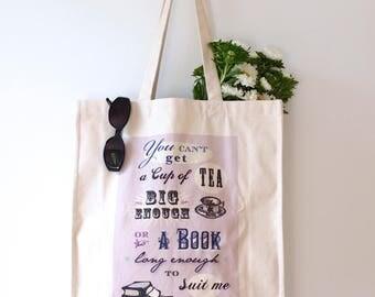 Luxury Canvas Tote CS Lewis Cup of Tea Book Quote Book Lover Tea Lover Book Bag Cotton Canvas Tote Northern Ireland Belfast