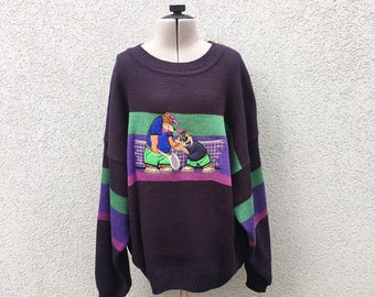 Vintage 90s Bears Playing Tennis Sweater Striped Clothing Cartoons