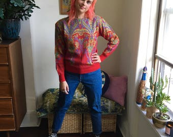 SZ M 80s Red Paisley Sweater w/ Shoulder Pads