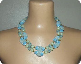 Vintage 50s Necklace   1950s Unique Double Strand Necklace   Blue Green Iridescent Bead Clusters   Hong Kong