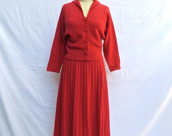 Vintage 1950's/Red  Wool Knit Sweater and Skirt Set/50's Red Sweater And Skirt Ensemble/Kimberley/Red Cardigan Skirt Set/Hand Loomed/M-L