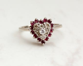 Vintage Ruby Diamond Sweetheart Halo Ring in 14k Solid White Gold, Size 6.5 // Heart Ring //