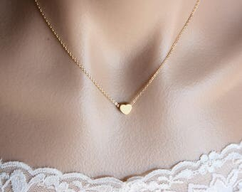 Simple Gold Dot Necklace , Heart Necklace , Star Necklace , Dainty Necklace , Layering Necklace , Simple Necklace , Gold Jewelry , Cute