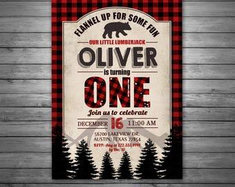 Lumberjack Birthday Invitation, Lumberjack Invite, Digital Lumberjack Invitation, Rustic, Lumberjack Birthday, Bear Invitation, Wilderness