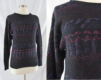 Vintage Eighties Sweater - 1980s Black Metallic Sweater - 80s Sparkle Sweater - Large 80s Sweater