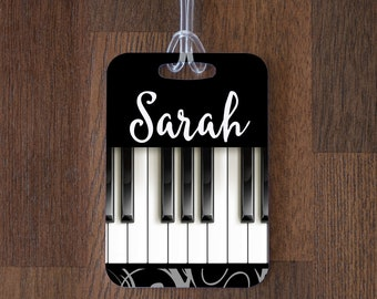 Personalized Piano Music Luggage Tag ID Tag - Custom Name