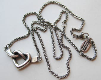 Fine James Avery Sterling Silver Heart Shaped Love Knot Pendant Necklace
