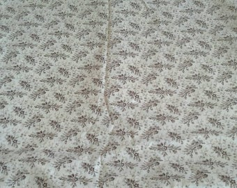 Brown Floral Calico Print on Natural Background Cotton Fabric 1 1/3 Yard X0890