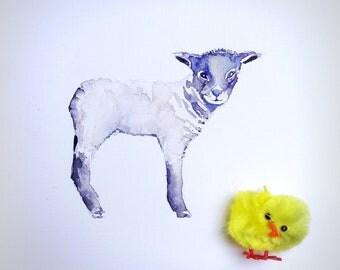 Original watercolor lamb. Easter/Spring card.