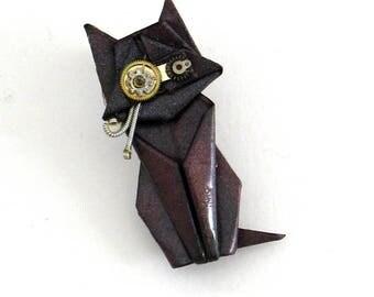 STEAMPUNK origami cat brooch