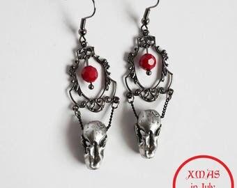 Xmas in July Sale Ready to Ship Miyu Decay Noir Filigree Framed Crystal Earrings