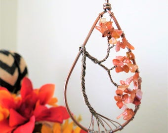 Autumn Necklace Fall September Birthstone Tree of Life Necklace Wire Tree Necklace Red Agate Gemstone Necklace Weeping Willow Necklace