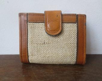 Vintage '60s Leather & Tweed Bifold Wallet