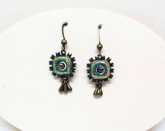 Twinkle and Shine. Quilled Paper Earrings - Boho Rhinestone Earrings - Turquoise Blue - First Anniversary - Bridesmaid
