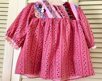 Handmade baby dress, heirloom sewing, vintage, calico, pieced  panel, buttons, calico, winter baby girl