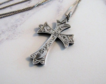 Victorian Sterling Silver Gothic Cross Pendant Necklace. Antique Engraved Cross F.B &S. Silver Box Chain. Religious Spiritual Gifts For Her