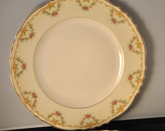 Wardell China Federal Shape Syracuse Set of 3 Large 10 Inch Dinner Plates Plate in the Wardell Pattern Pink Roses Gold Scalloped (Set B)