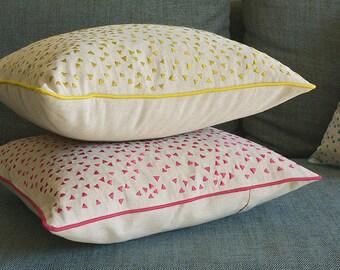 So Fun! Triangle Confetti Embroidery on Linen Pillow Cover , Acid Yellow Confetti Cushion Cover , Yellow & Natural Cotton Linen Pillow Cover