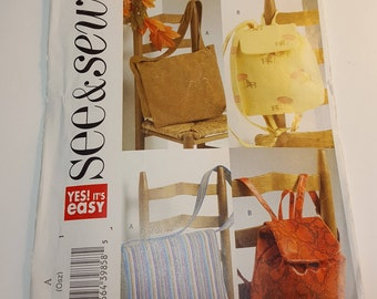 Pattern, Messenger and Backpack  - - butterickSee & Sew pattern #B4583 - Utility bag