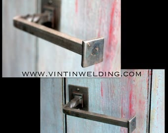 Hand Forged Iron Twisted Rustic Square Rod Double Square Style Based TP Holder by VinTin