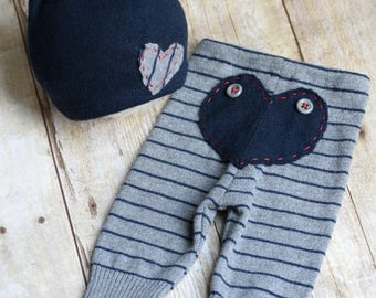 Newborn Boy Outfit Upcycled Newborn Boy Pants with Bum Flap Upcycled Bear Hat Newborn Photo Prop - Navy Blue and Gray - READY TO SHIP