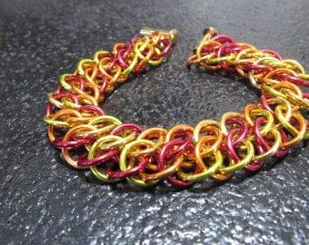 GSW Chainmail Bracelet, Anodized Aluminum Bracelet, Fall Color Chainmail Cuff, Chainmaille Cuff, Chain mail Bracelet, Chainmail Jewelry