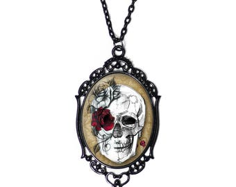White Skull and Red Rose 30x40mm Black Cameo Necklace