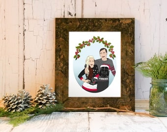 Christmas Portrait, Christmas Illustration, Custom Couple's Portrait Gift, Gift for Her, Gift for Him, Gift for Them, Custom Illustration