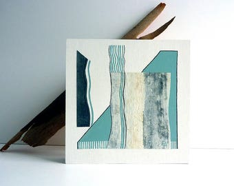 Mint green abstract Art, mixed media artwork, one-of-a-kind art original