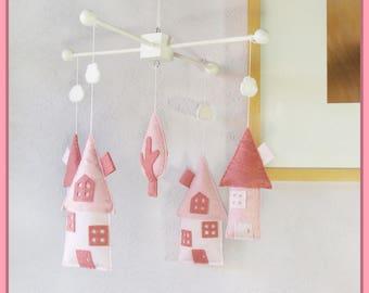 House Nursery Mobile, Fairy Tale House, Little House Nursery Decor, Houses and Tree Mobile, Almond Pink Light Pastel Pink Light Pink White