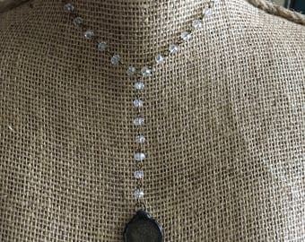 Clear Faceted Glass Beaded Brass Link Y-Necklace with Hand Soldered Rustic Vintage Schilling Coin Pendant Artisan Solder