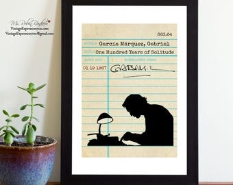 Gabriel Garcia Marquez, One Hundred Years of Solitude, Vintage Library Card Art, Book Art, Silhouette Print