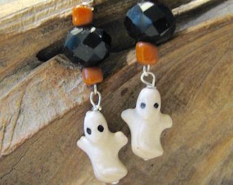 halloween ceramic ghost dangle earrings