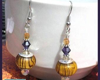 Orange Purple Crystal Dangle Earrings Orange Jewelry Boho Earrings Hypoallergenic Nickelfree Statement Earrings for Clemson Fans