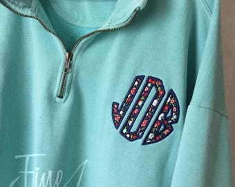 Floral Applique Circle or Block Monogram Comfort Colors Pigment Dyed Quarter Zip Adult Sweatshirt Jacket Ladies Plus Size Available 2X 3X